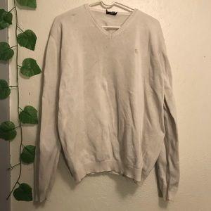 Burberry White V Neck Cotton Sweater